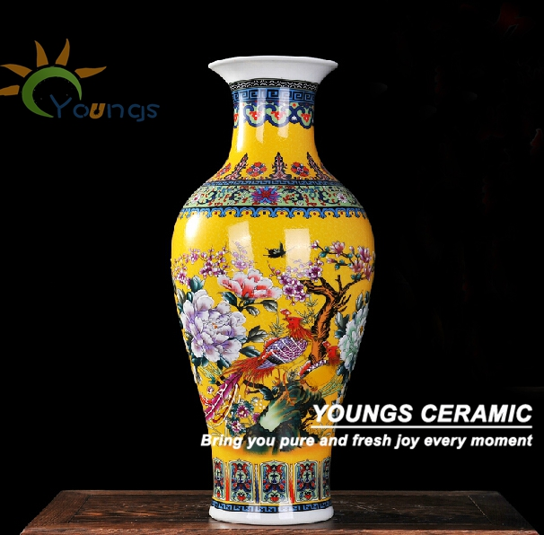 Wonderful Chinese Big Antique Porcelain Yellow Ceramic Vases