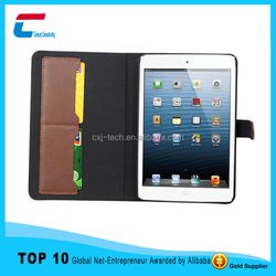 New arrival leather case for mini 4 , for ipad mini 4 leather case with two card slot , for ipad leather case cover