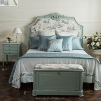 Provence style wooden solid wood bed GW11L-AB2