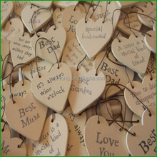 Wholesale Laser Cutting Heart Wooden Decoration