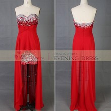 sleeveless waisted hot fix stone beaded chiffon evening dress 2015