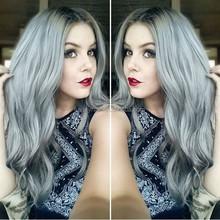 Top Fashion Brazilian 20 inch Wavy Grey Human Hair Wigs