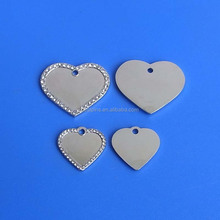 custom crystal inserted metalic heart shape pet ID dog tags hot selling