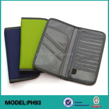 Promotional custom 600D fabric travel document organizer bag set with safety belt