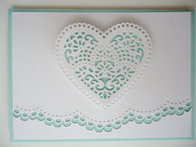 pure white&mint blue Doily Style laser card weddding invitation pocket