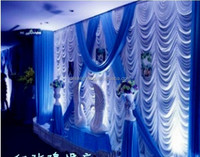 Fashion Wave Style Royal blue wedding decoration stage backdrop curtains with swag silk drapes background curtains
