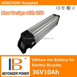 Direct sale, Hangzhou factory, e-bike lithium battery 36V10Ah assembly via rechargeable lithium ion 18650 with USB port