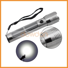 1W Super Bright High End Aluminium Alloy Solar Powered Rechargable LED Flashlight with USB Charger