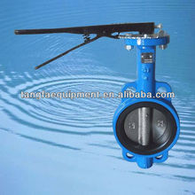 DN65 DIN standard handle lever operated blue butterfly valve for gas