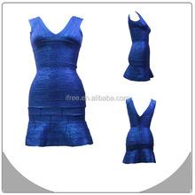 blue painting V-neck new product 2015 innovation bandage dresses