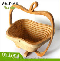 Folding flat bamboo fruit food basket FOR Wedding decaration