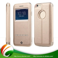 Excellent Quality Oem Flip Leather Window View Leather Phone Case For Iphone 6