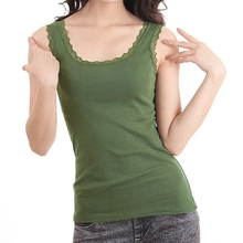 Korean Style Woman Fashion Cotton Vest In 2014 Ladies Double U Collar Lace Tops Women