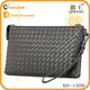 new arrival weaving soft leather wrist bag men business clutch wallet