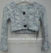 100 acrylic long sleeve ladies sweater top with button