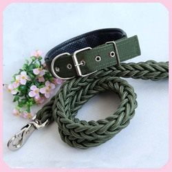 Good Quality Heavy Duty Nylon Braided Dog Leashes and Collar For Large Dog