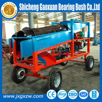 China mobile placer gold washer trommel machine with diesel engine