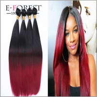 New Arrival Cheap Grade 7a Brazilian Virgin Hair Straight 4 Bundles Two Tone 1b Burgundy Human Hair Weave Red Straight Bundles