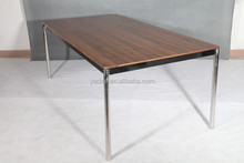 Rectangular Stainless Steel and Wood Dining Table