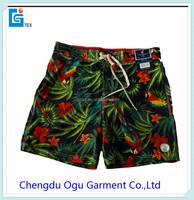 stylish quality 100% polyester wholesale waterproof men swim trunks