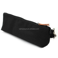 Cute Cotton Canvas Two Zip Pencil Bag with Handle