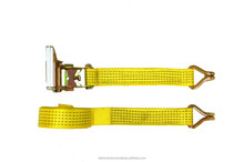 Double j hook belt ratchet tie down with webbing