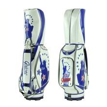 "Guiote 7-pocket Golf Cart Bag 10"" PU Leather Golf Staff Bag Standard Ball Package Bag Rainhood Liberty Status Mark"