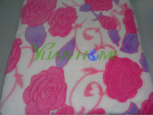 Soft Plush Big Flowers Embossed Flannel Blankets (YH2024)