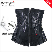Strapless women shapers supply black steel boned body cincher underbust leather corset for women wholesale