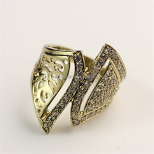 Beautiful New Design Raw Brass White Zircon Cheap Gold Men Ring Designs For Boys