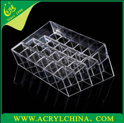 clear acrylic makeup stand case for 24 trapezoid, transparent multifunction PMMA cosmetic organizer holder for 14.3*9.5*7.3mm