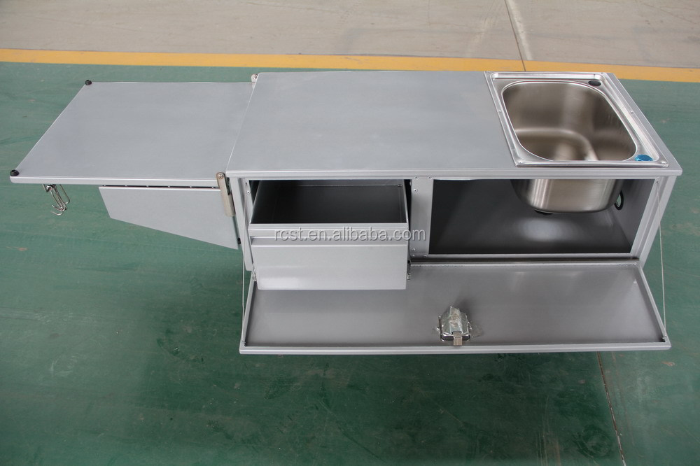 Powder coated aluminum camper trailer kitchen view powder for Camp trailer kitchen designs