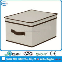 Household Essentials Large Storage Box For Living Room, Natural Canvas with Brown Trim