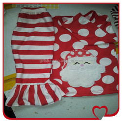 Child Soft Cotton Cute Santa Printed Polka Dots Top And Casual Stripe Pant Funny Christmas Clothes