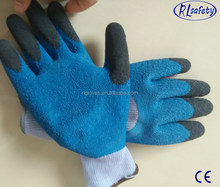 10G natural polycotton liner coated blue latex gloves economic work gloves cheapest