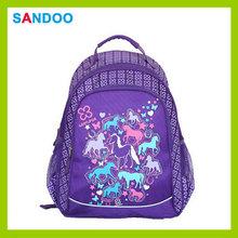 2014 nuova cina prodotto cavallo sacchetto di scuola zaino animale incantevole, carino poliestere scuola zaino con i cavalli