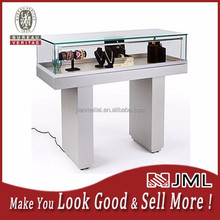 JML Semi-Gloss Silver Jewelry Display Case with Hydraulic Lift Opening