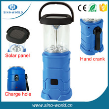 Solar lantern with mobile phone charger, Portable USB Hand crank Dynamo Rechargeable solar LED Camping Solar lantern