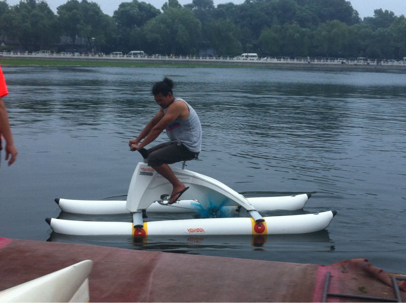 Pvc pontoons pedal boats shelter pvc water bikes for Fishing pedal boat