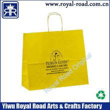 Factory Wholesale custom bright yellow color kraft paper bag paper handle