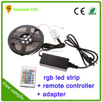 ce rohs hot sale 12v 5m 60led ip65 waterproof led strip 5m flexible 5050 rgb led strip light with remote controller