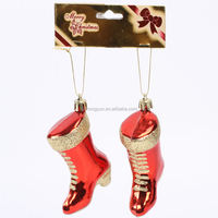 promotional plastic santa gift cheap hanging artificial personalized christmas boot decoration