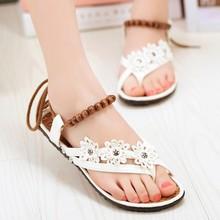 SAA3272 Flat women sandals fancy beads strap ladies flip flops sandals