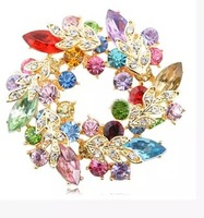 High Quality Crystal Garland Shape Brooch Pin, Beautiful Multi Color Crystal Flower Brooch