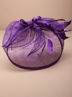 Wholesale Alibaba Hair Accessories Purple Sinamay Hat Fascinator For Lady