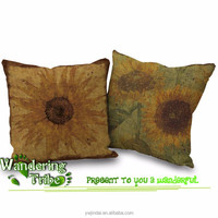 """Wandering Tribe Home Decor Cushion Covers Shell Cotton Linen retro Yellow Sunflower 18"""" X 18"""" chair cushion cover"""