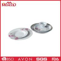 Sell well round shape red flower print melamine reusable plastic dinnerware