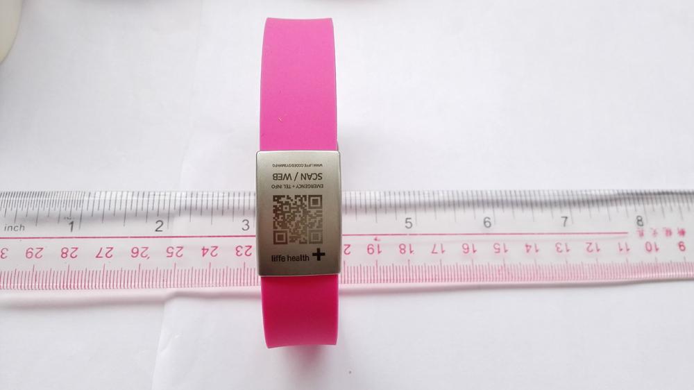 210x18mm Silicone emergency alert qr code id bracelet with silicone bracelets clasps