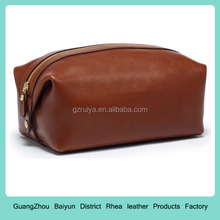Vintage Chestnut Leather Dopp Kit Vintage Leather Cosmetic Bag