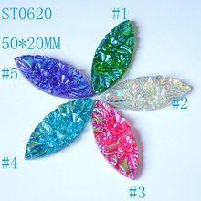 Sew On Diamante Cabochon 30*15MM AB Color Resin Stone